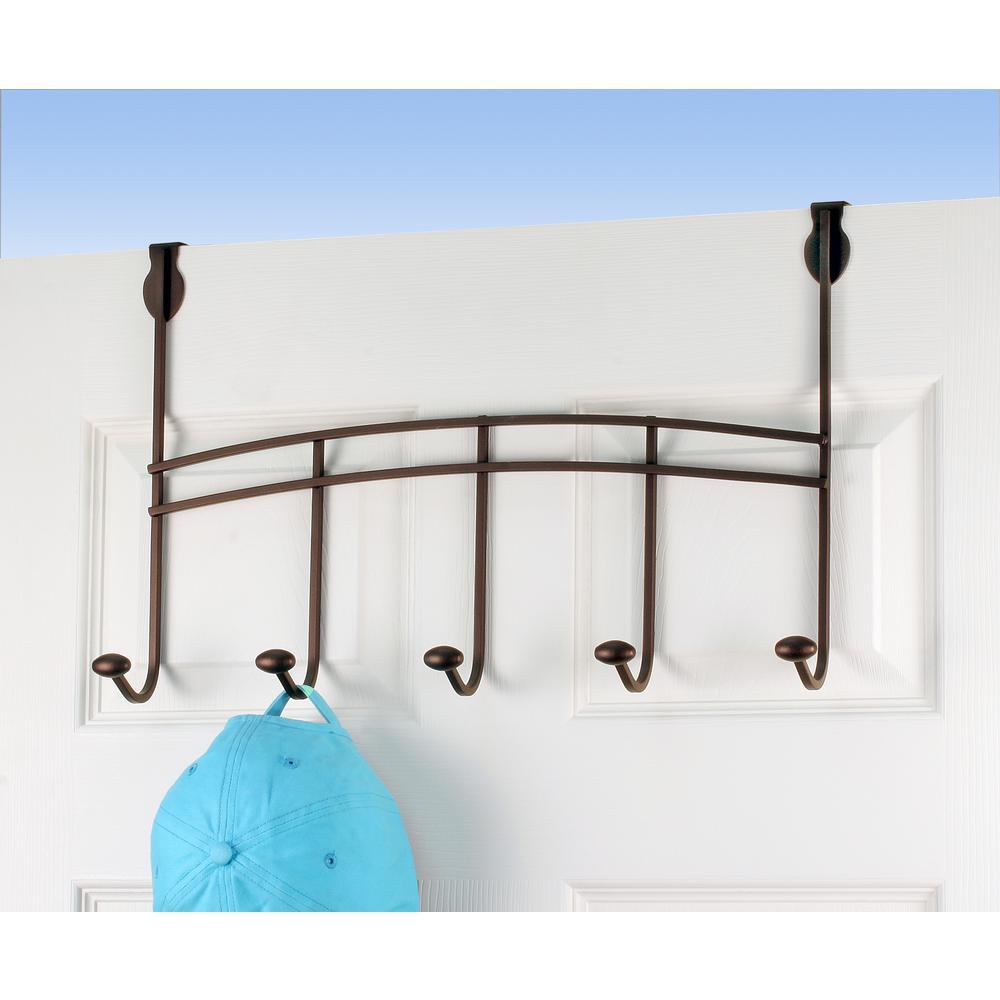 Duchess 19-1/2 in. L Decorative 5-Hook Over the Door Rack in Bronze