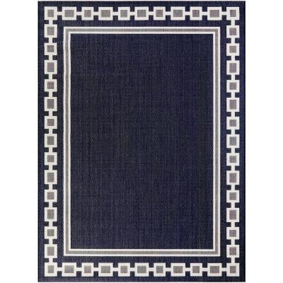 Chain Border Navy 5 ft. x 7 ft. Indoor/Outdoor Area Rug