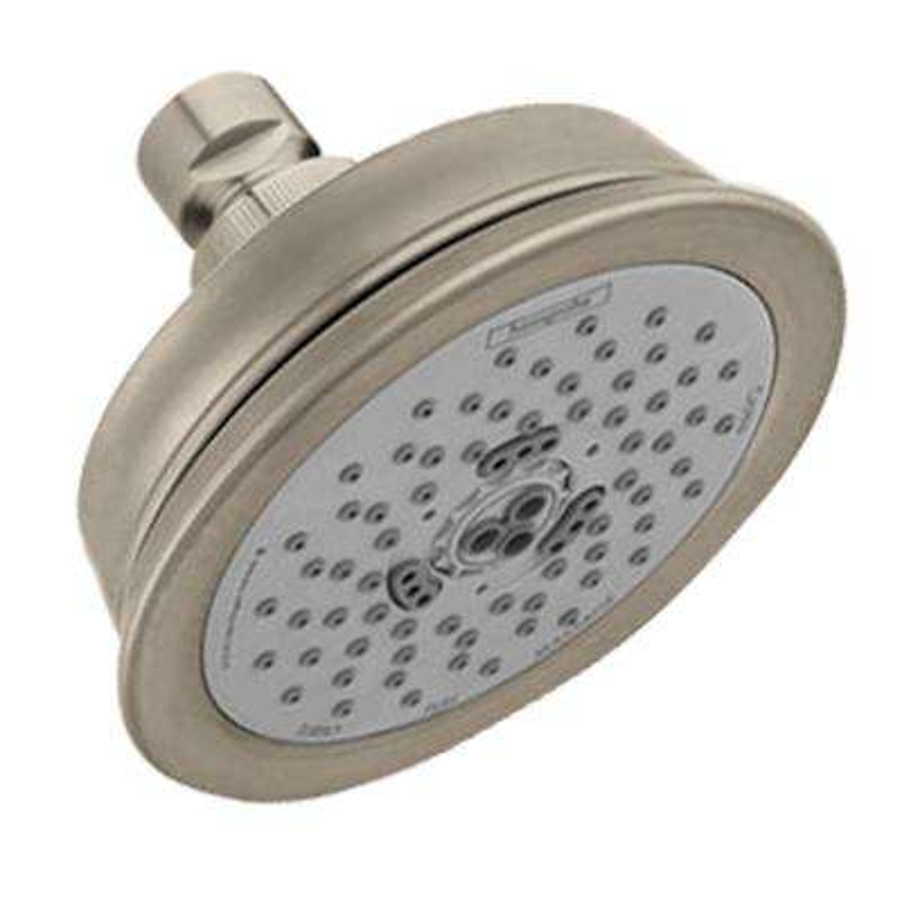 Croma C 100 3-Spray 4 in. Green Showerhead in Brushed Nickel