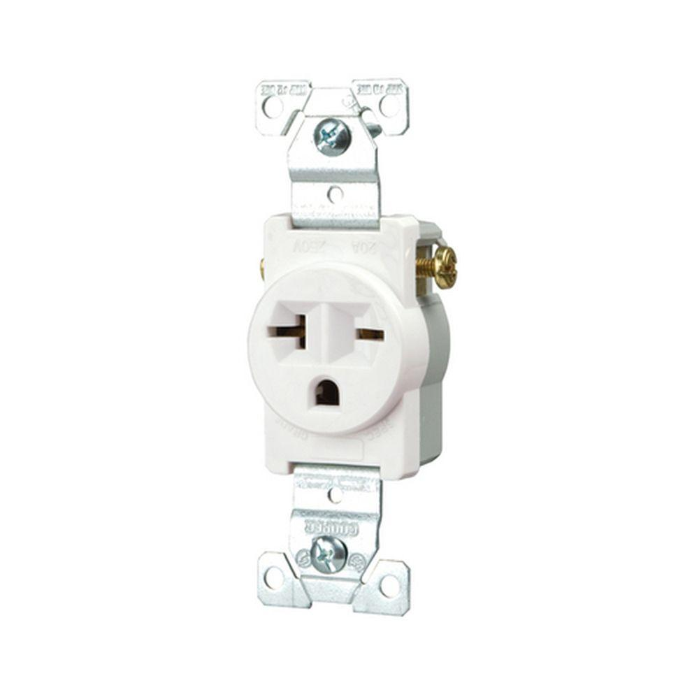 Eaton Commercial Grade 20 Amp Straight Blade Single Receptacle with Side  Wiring, White
