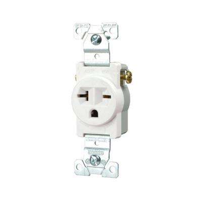 Commercial Grade 20 Amp Straight Blade Single Receptacle with Side Wiring, White