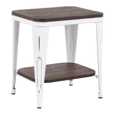 Oregon Industrial Vintage White Metal and Espresso Wood End Table