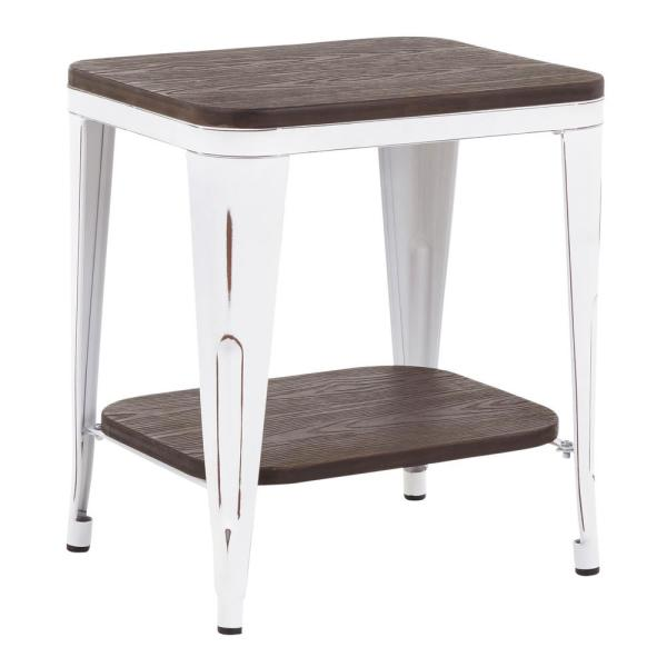 Lumisource Oregon Industrial Vintage White Metal and Espresso Wood End Table