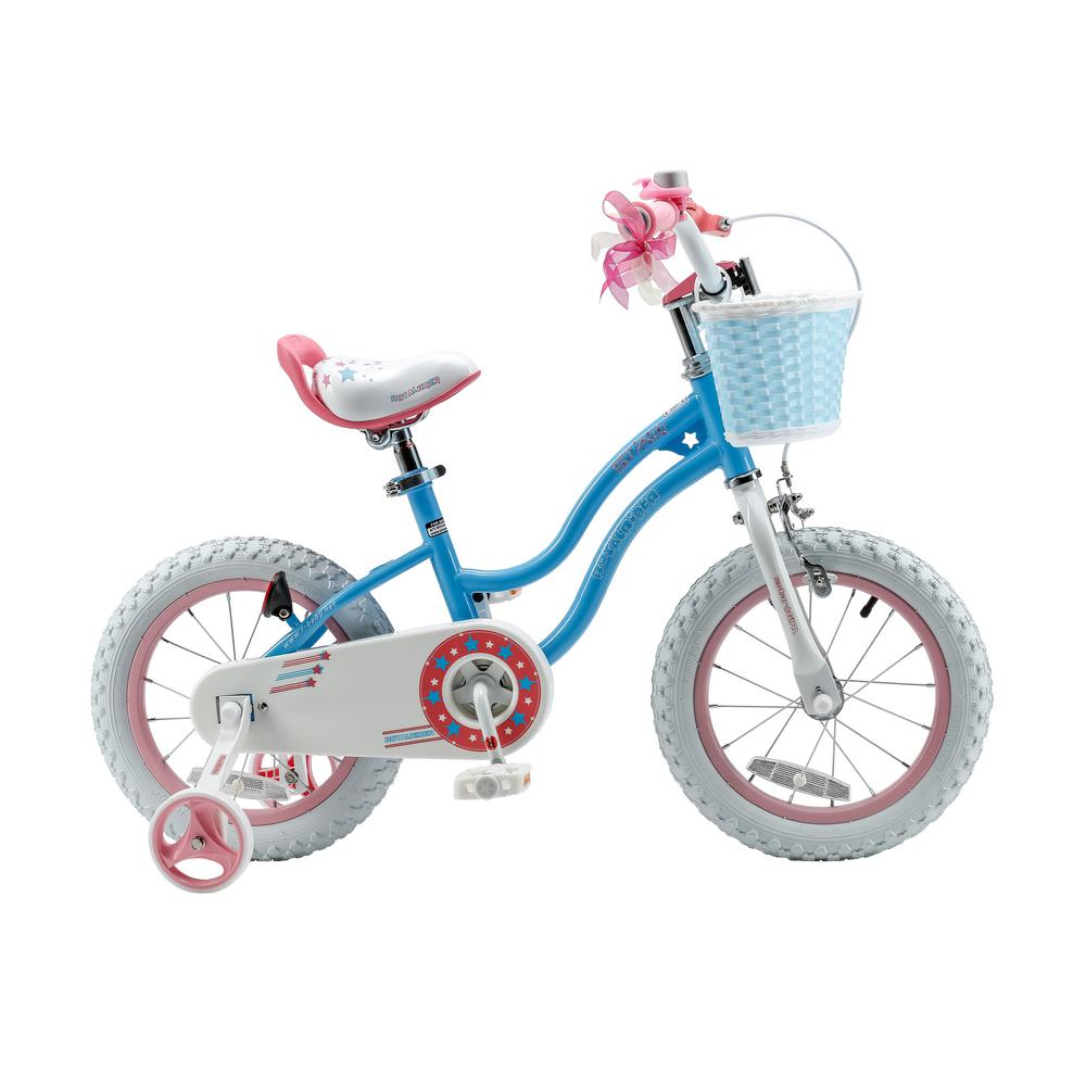 Royalbaby Stargirl Girl's Bike with Training Wheels and Basket, 12 in. Wheels in Blue
