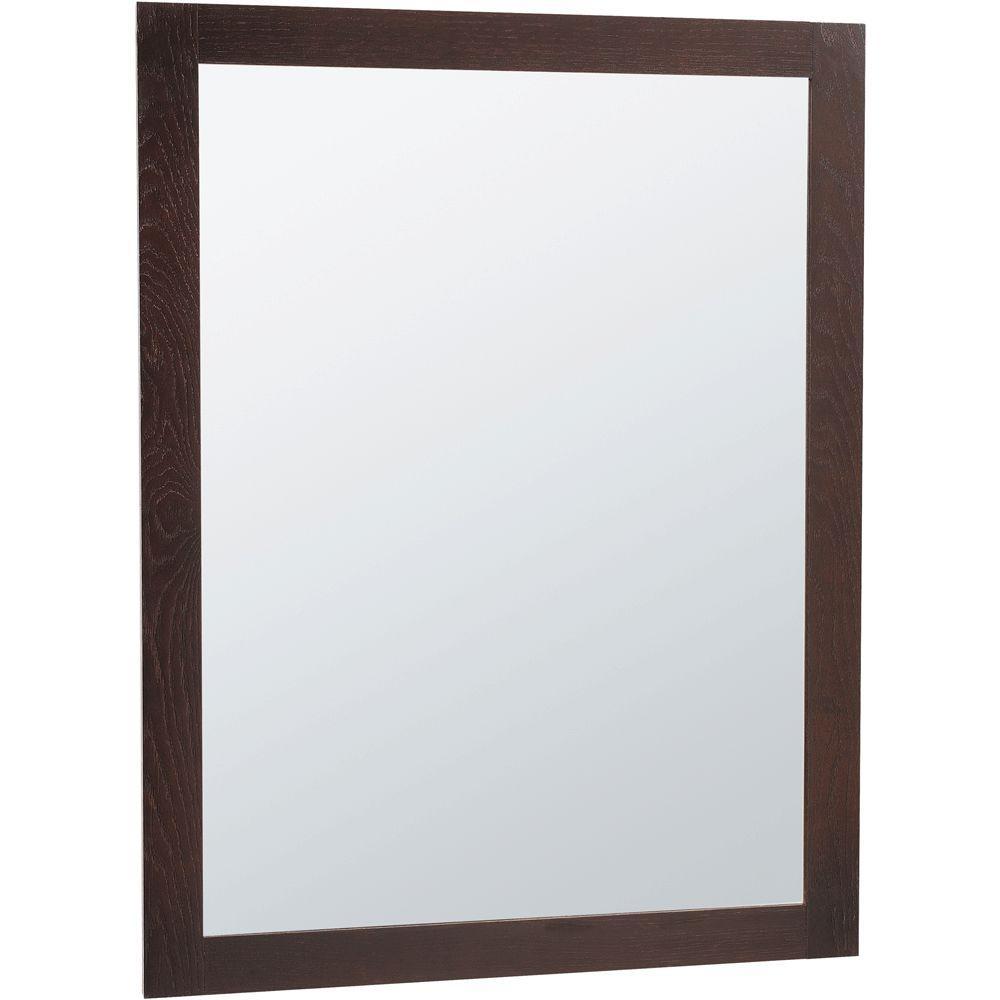 Glacier Bay Renditions 24 in. x 31 in. Framed Vanity Mirror in Java Oak