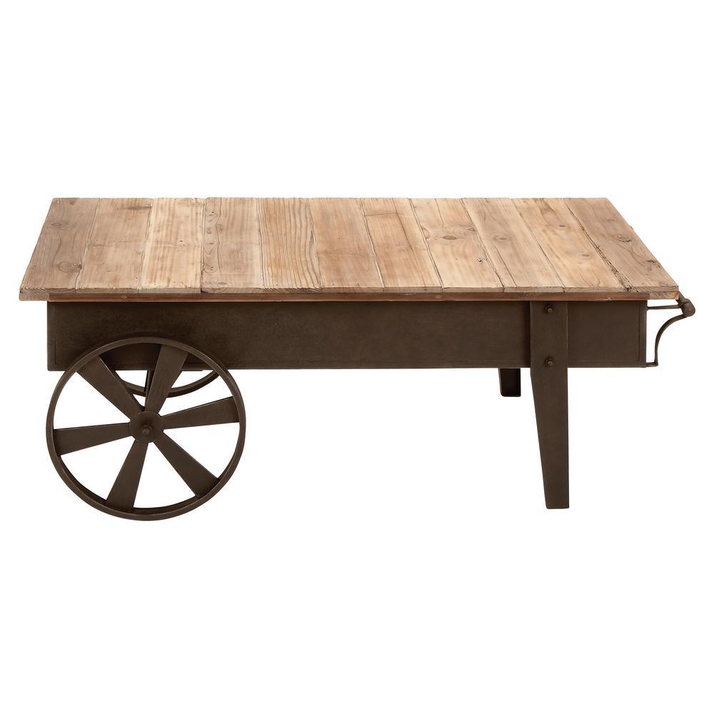 Litton Lane Brown Natural Mobile Coffee Table-55815