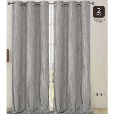 Jackson 38 in. W x 84 in. L Crushed Silk Window Panel Pair in Silver (2-Pack)