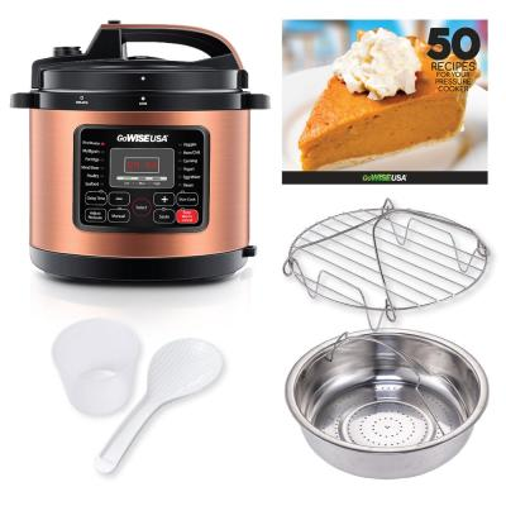 GoWISE USA-6 Qt. Copper Electric Pressure Cooker with Non-Stick Interior
