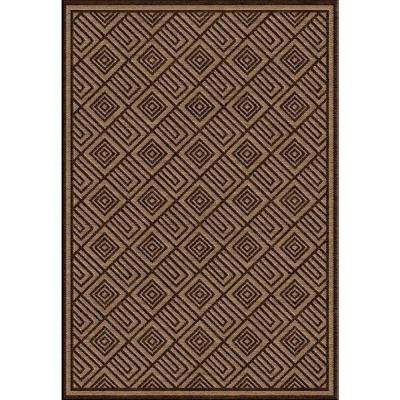 Ichoris Dark Brown 5 ft. x 7 ft. Indoor/Outdoor Area Rug