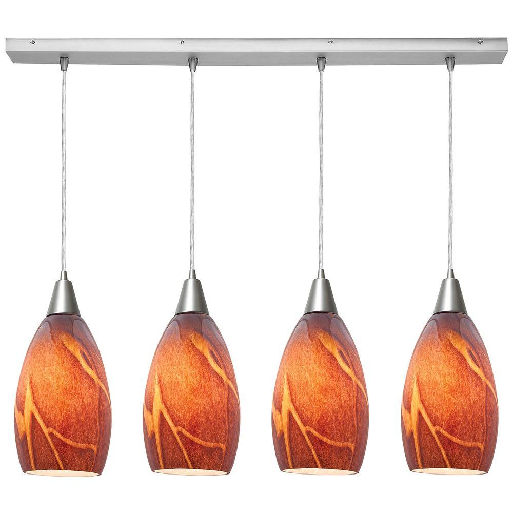 Access Lighting 4-Light Pendant Oil Rubbed Bronze Finish Inca Glass-DISCONTINUED