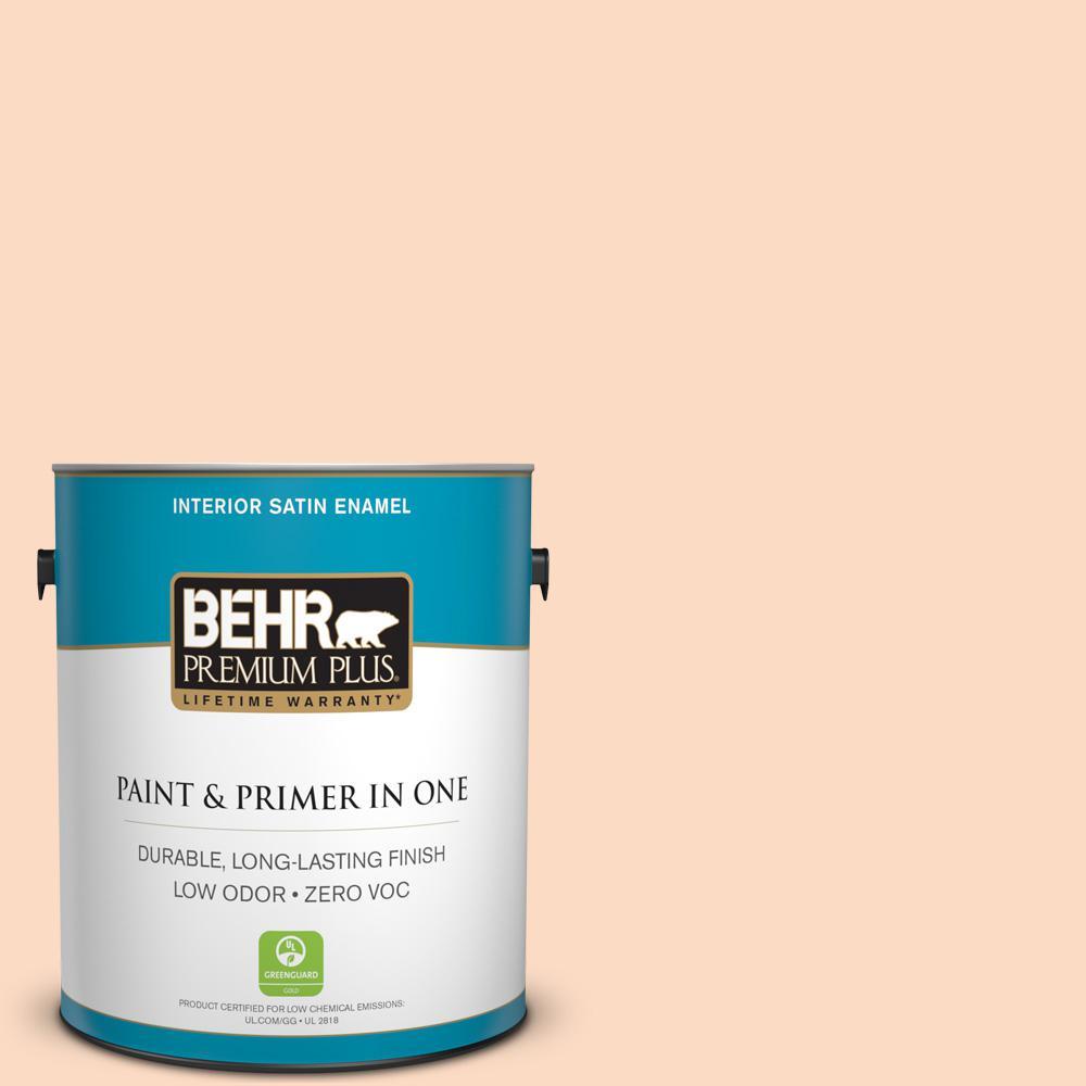 BEHR Premium Plus 1-gal. #250A-3 Whispering Peach Zero VOC Satin Enamel Interior Paint
