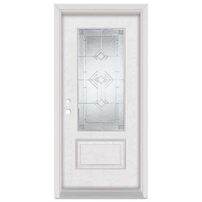 33.375 in. x 83 in. Neo-Deco Right-Hand 3/4 Lite Zinc Finished Fiberglass Oak Woodgrain Prehung Front Door Brickmould