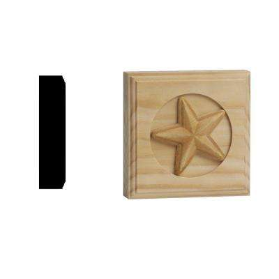 DM 375 - 7/8 in. x 3-3/4 in. x 3-3/4 in. Solid Pine Miterless Rosette with Star Pattern