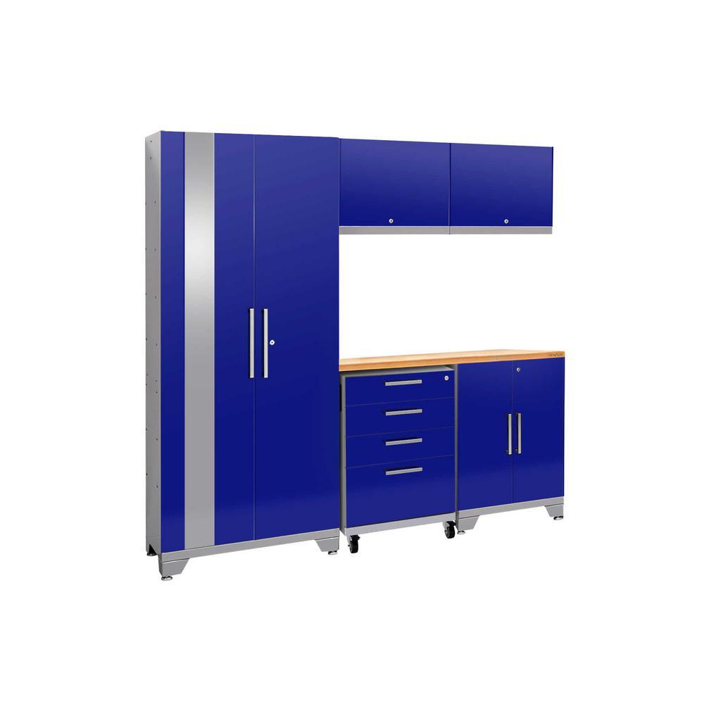 Performance 2.0 77.25 in. H x 78 in. W x 18 in. D 24-Gauge Welded Steel Bamboo Worktop Cabinet Set in Blue (6-Piece)