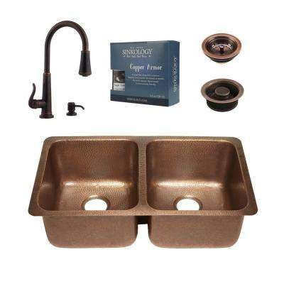 Rivera All-in-One Undermount Copper 32 in. 50/50 Double Bowl Kitchen Sink Kit with Pfister Bronze Faucet and Drains