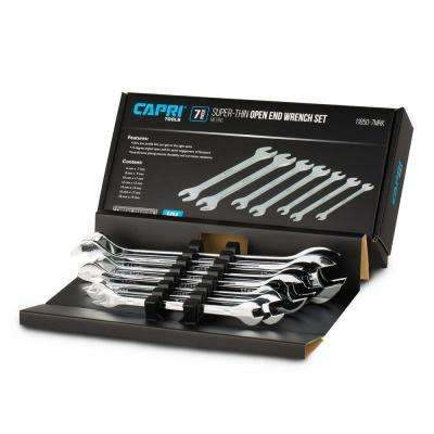 Metric Super-Thin Open End Wrench Set (7-Piece)