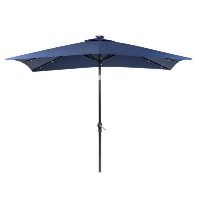 9 ft. x 7 ft. Rectangular Market Solar Lighted Patio Umbrella in Navy