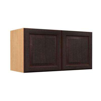 Ancona Ready to Assemble 36 x 12 x 12 in. Wall Cabinet with 2 Soft Close Doors in Mocha