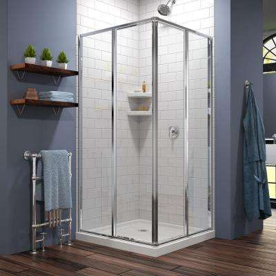 Cornerview 36 in. x 36 in. x 74.75 in. Corner Framed Sliding Shower Enclosure in Chrome with White Acrylic Base