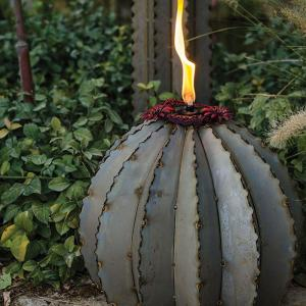 Desert Steel Large Golden Barrel Cactus Torch by Desert Steel
