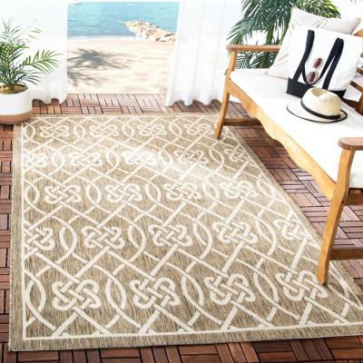 Courtyard Mocha/Light Beige 7 ft. x 10 ft. Indoor/Outdoor Area Rug
