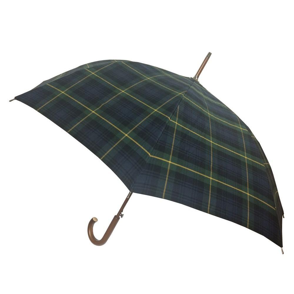 48 in. Arc Canopy Auto Open Stick Umbrella in Tartan