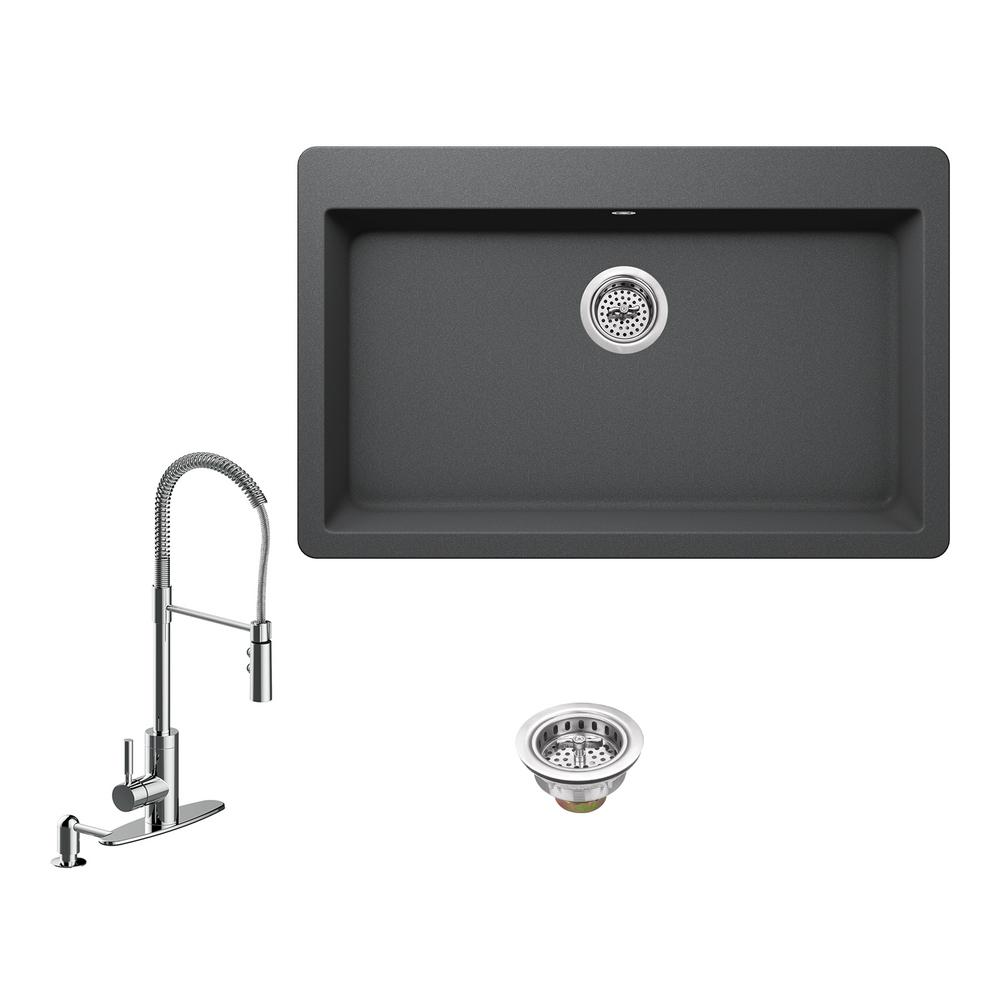 IPT Sink Company All-in-One Drop-In Granite Composite 33 in. 3-Hole ...
