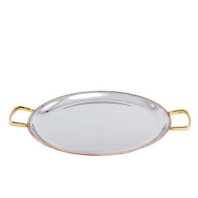 11 in. 2 PLY Solid Copper / Stainless Steel Embossed Pattern Base Flat Tray with Brass Handles