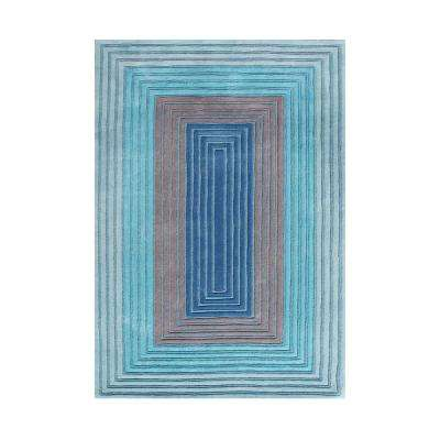 Deep Ocean Blue 5 Ft. X 8 Ft. Adorn Geo Illusions Luxurious Hand Carved  Area Rug