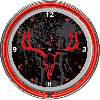14 in. Hunt Skull Chrome Double Ring Neon Wall Clock