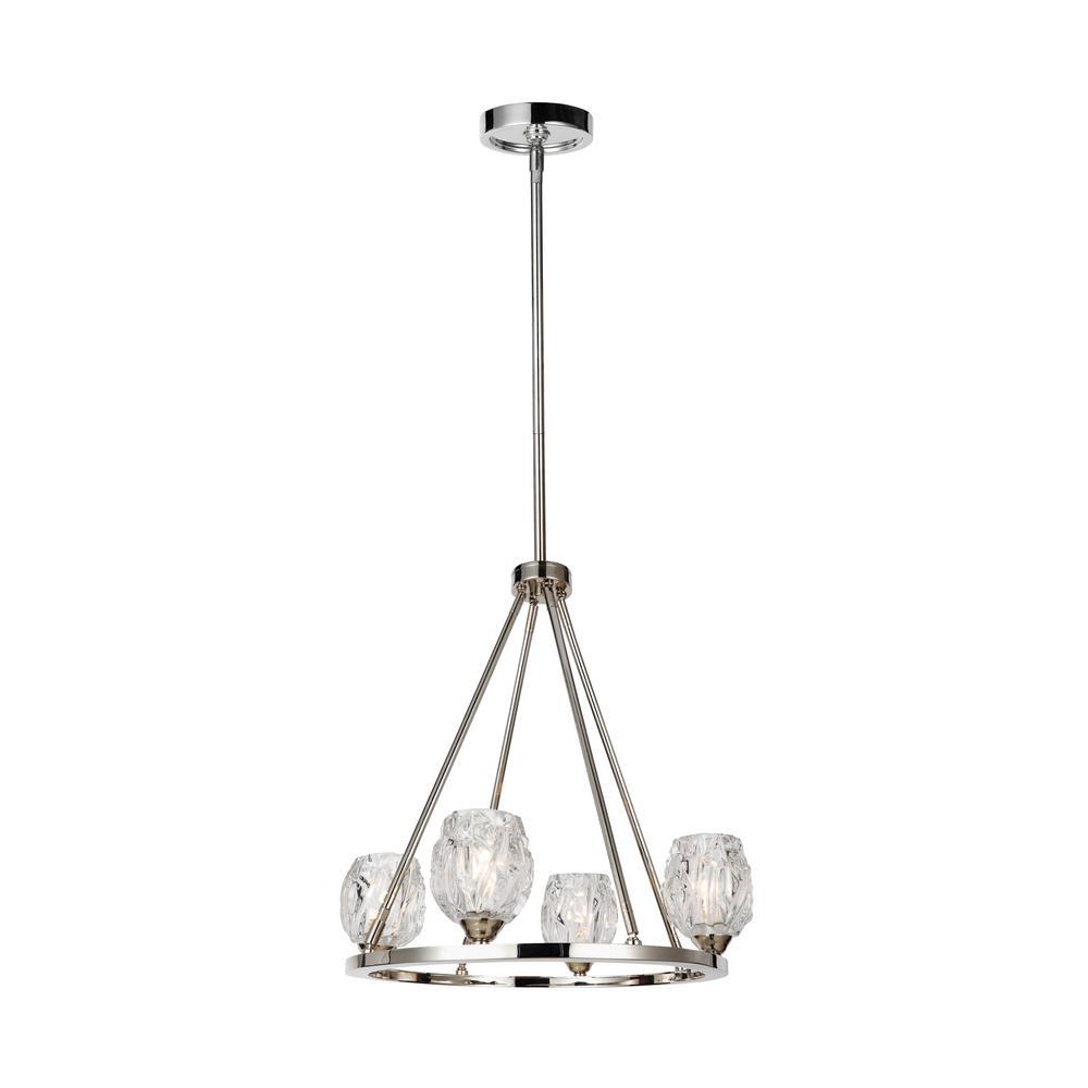 Rubin 4-Light Polished Nickel Chandelier