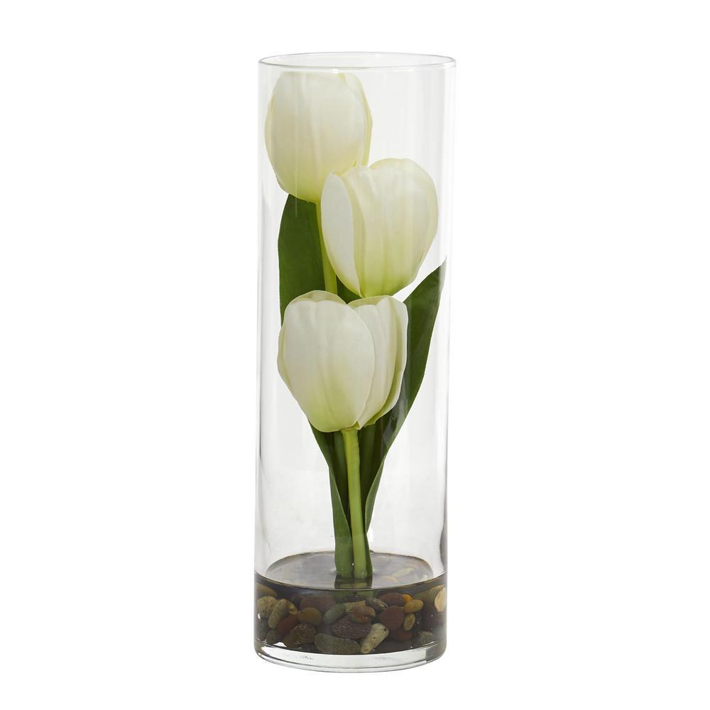 Nearly Natural Indoor 10 in. Tulips Artificial Arrangement in Cylinder Vase