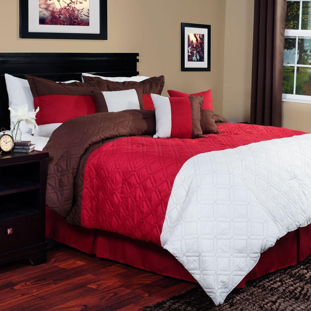 Lavish Home Layla Red 7-Piece Queen Comforter Set