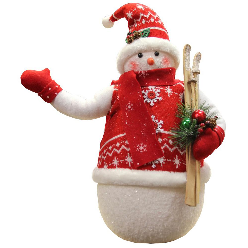 4c0b507a7cf3f 20 in. Alpine Chic Sparkling Snowman with Nordic Style Santa Hat and Skiis  Christmas Decoration