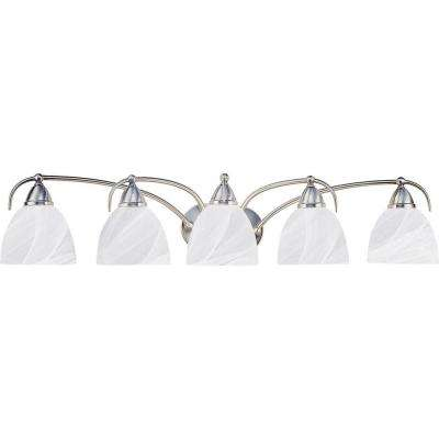 5-Light Brushed Nickel Bath and Vanity Light