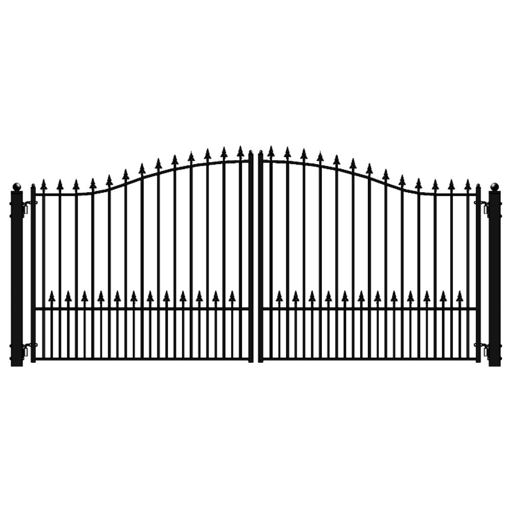 ALEKO Munich Style 18 ft. x 6 ft. Black Steel Dual Driveway Fence Gate