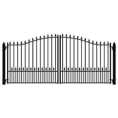 Munich Style 18 ft. x 6 ft. Black Steel Dual Driveway Fence Gate