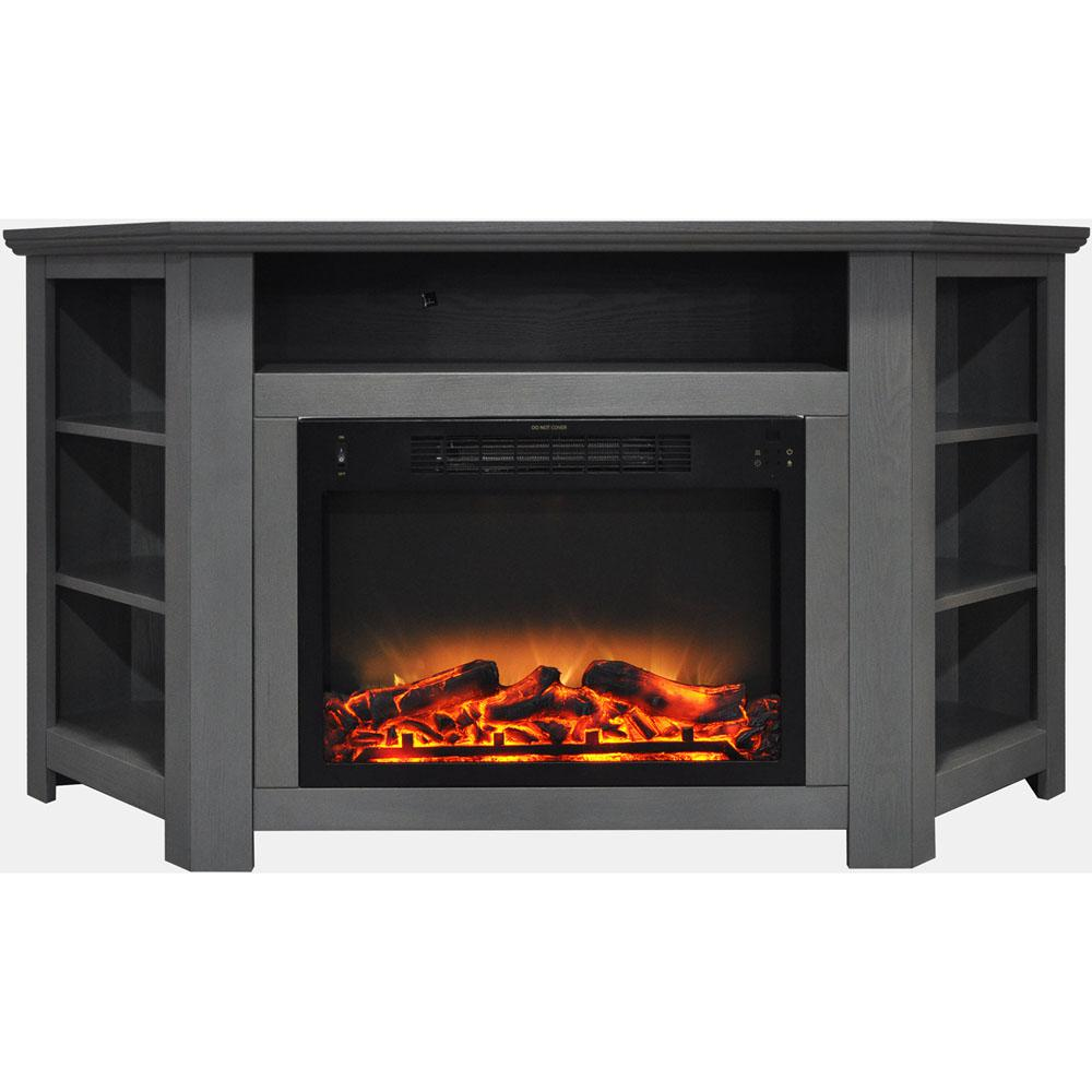 Hanover Tyler Park 56 in. Electric Corner Fireplace in Gray with Enhanced Fireplace Display