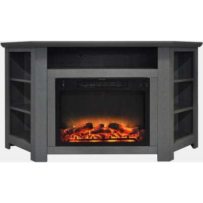 Tyler Park 56 in. Electric Corner Fireplace in Gray with Enhanced Fireplace Display