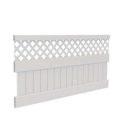 4 ft. H x 8 ft. W White Vinyl Carlsbad Privacy Fence Panel Kit