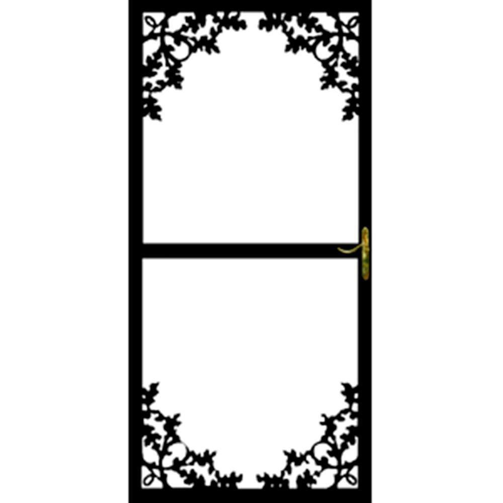 36 in. x 80 in. 364 Series Black Paradise Security Door