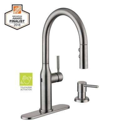 Upson Single-Handle Touchless Pull-Down Sprayer Kitchen Faucet with Soap Dispenser in Stainless Steel