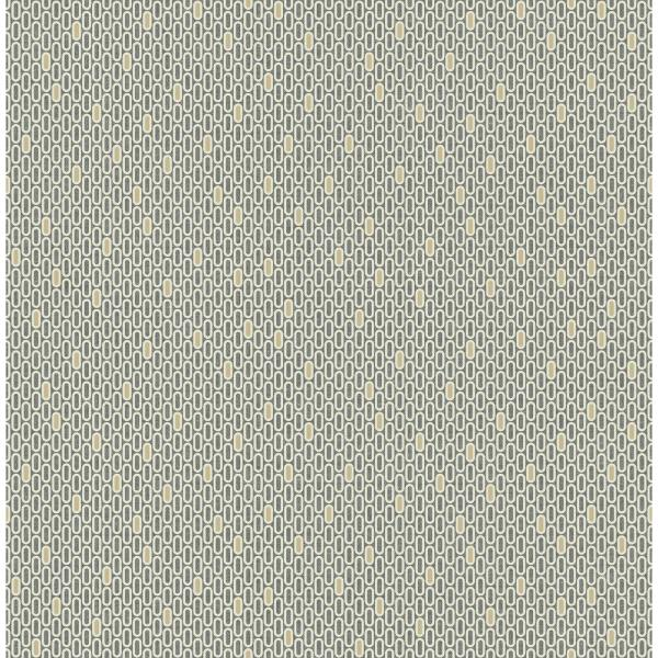 Seabrook Designs Fonzie Metallic Gold and Charcoal Oval Wallpaper