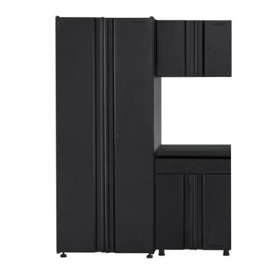Welded 54 in. W x  75 in. H x 19 in. D Steel Garage Cabinet Set in Black (3-Piece)