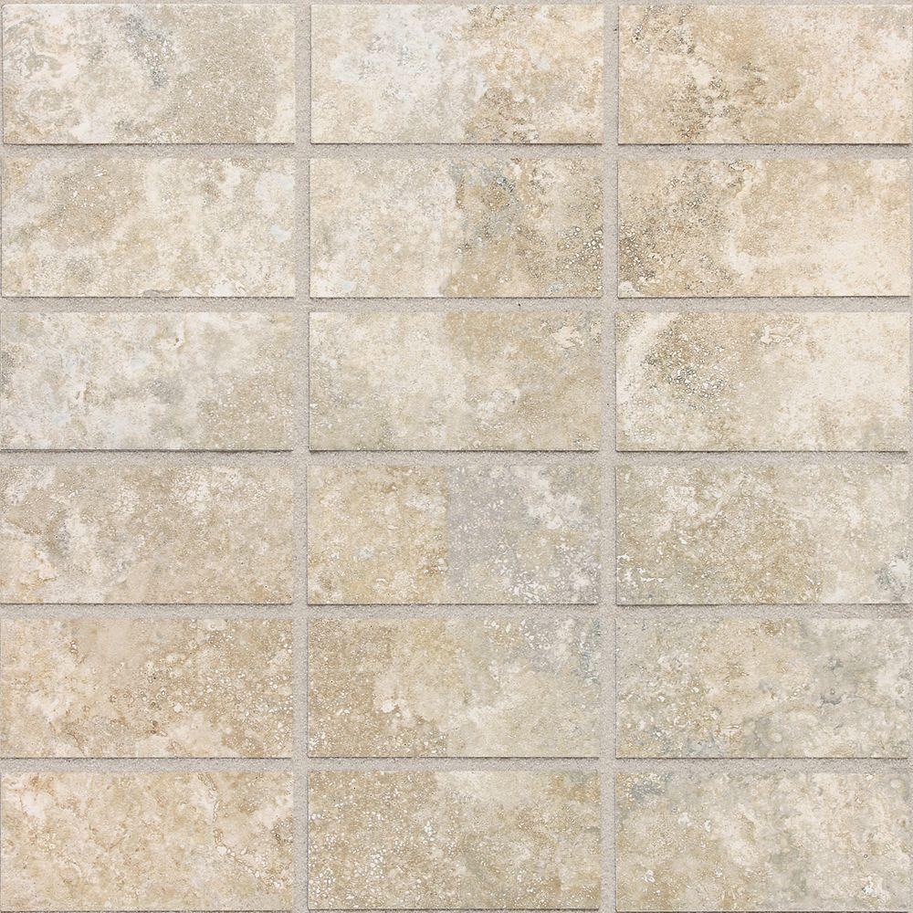 Daltile San Michele Crema Cross-Cut 12 in. x 12 in. x 8 mm Glazed Porcelain Mosaic Floor and Wall Tile-DISCONTINUED