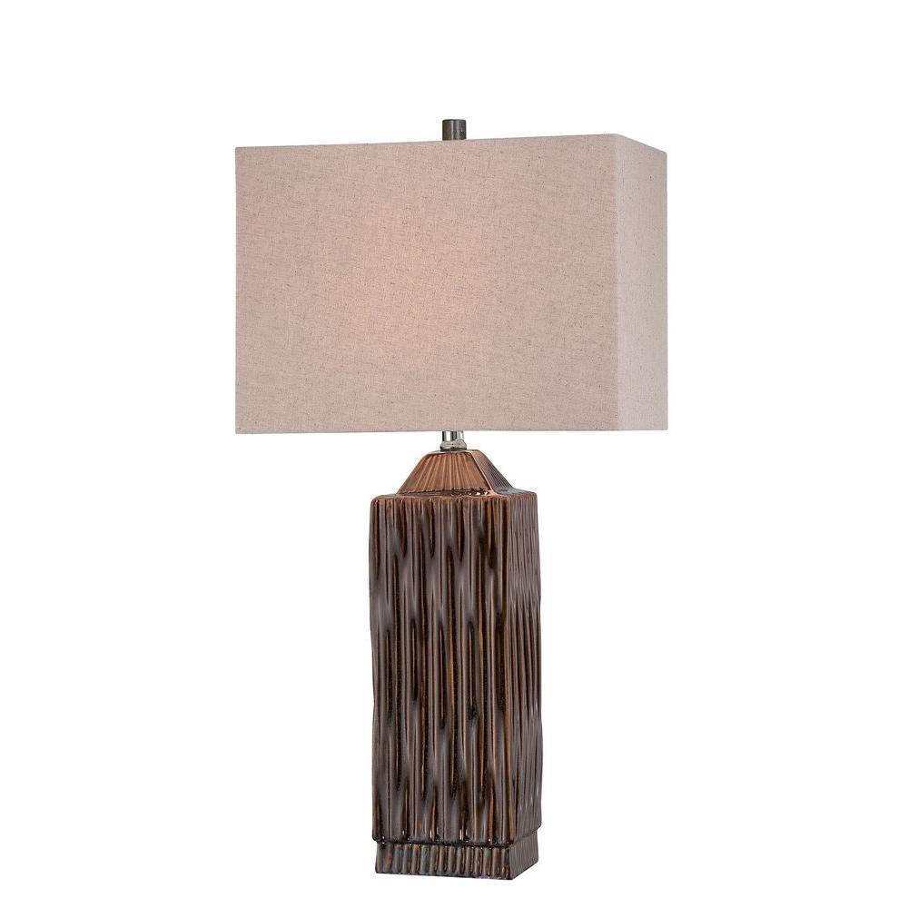 29.25 in. 1-Light Brushed Dark Walnut Table Lamp