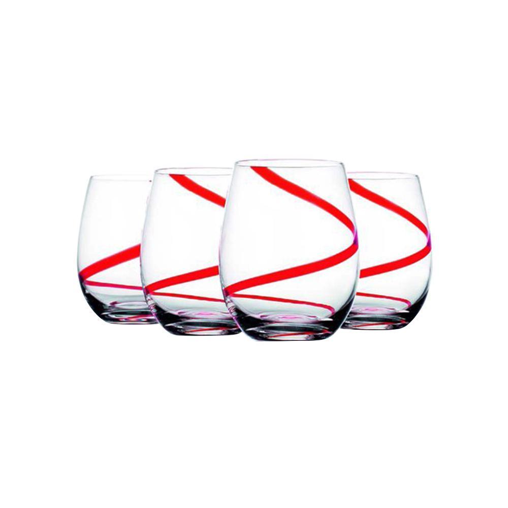 18 fl. oz. Swirl Stemless Wine Glasses (4-Pack)