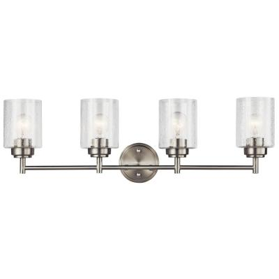 Winslow 4.75 in. 4-Light Brushed Nickel Vanity Light with Seeded Glass Shade