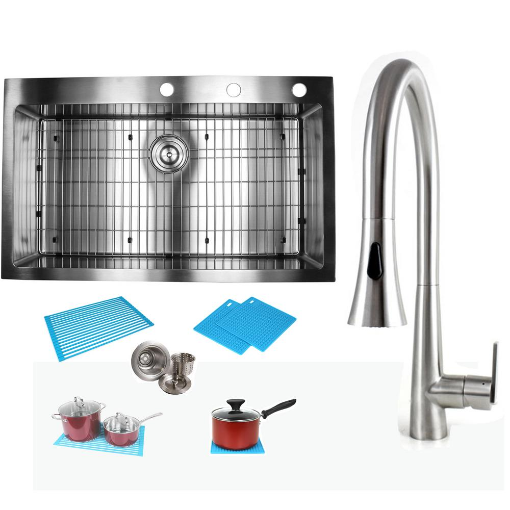eModernDecor Topmount Drop-In 16-Gauge Stainless Steel 36 in. x 22 in. x 10  in. Single Bowl Kitchen Sink and Faucet Combo
