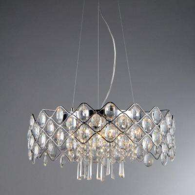 Persephone 10-Light Chrome Chandelier with Shade